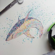Dot and Circle Animal Paintings, Ishihara Test? To see more art and information about Ana Enshina click the image. Dot Art Painting, Painting & Drawing, Watercolor Art, Shark Painting, Stippling Art, Shark Art, Pinturas Disney, Nautical Art, Impressionism Art