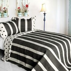 [Make It Mine] Cotton 3PC Vermicelli-Quilted Striped Printed Quilt Set (Full/Queen Size)