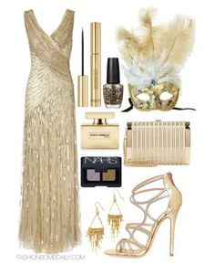 What to Wear to a Mardi Gras Party Ariella Juliet Sequin Long Dress Jimmy Choo Glitter Ayers Caged Sandals Stark Seductress Crystal Embellished Box Clutch