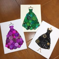 """231 Likes, 12 Comments - Joanna's Button Art (@paintedwithbuttons) on Instagram: """"A lucky person is receiving these three gorgeous button art dresses! I hope they love them as much…"""""""