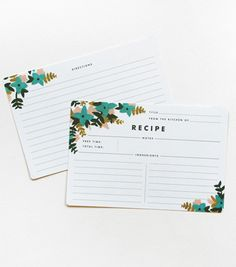 "Blue Floral Recipe Cards  $12.00  Elegantly illustrated recipe cards. Sold in packages of 12. Fits our Heirloom Recipe Card Box.  - 4""x6"" double sided cards  - Printed full color on white paper stock  - Rounded corners  - Printed locally in the US"