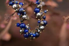 Bracelet lapis lazuli pyrite citrine . Danses de Soirétoile .