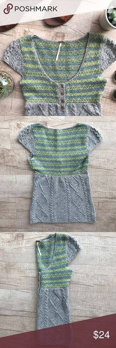 """Free People Fair Isle Wool Blend Sweater/Top * adorable short sleeve wool blend top * light gray & bright green/yellow detail * bust (laid flat, on one side) - 15"""" * length - 25"""" * 63% Wool, 21% Nylon, 15% Acrylic * please note, that this item is is good USED condition. slight pilling on underarm, but not noticeable when worn! Free People Sweaters Crew & Scoop Necks"""