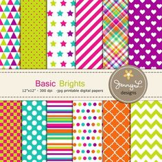 Digital Papers : Colorful Brights by JennyL Designs