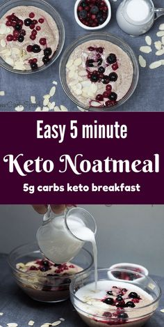 Easy 5 minute Keto Noatmeal – Low Carb Cereal for Breakfast Low Carb Oatmeal only net carbs. A perfect keto breakfast for when you don't want to eat bacon and eggs. Enjoy a low carb high fat breakfast. Keto Foods, Ketogenic Recipes, Low Carb Recipes, Easy Recipes, Cereal Keto, Low Carb Cereal, Vegan Keto, Vegetarian Keto, Low Carb Breakfast Easy