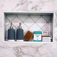 White And Grey Arabesque Shower Niche Shelf Ideas