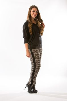 Taupe Printed Pants by Olive & Oak – Two Elle's Boutique
