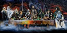 Commission Lord of the Rings / Last Supper Parody Acrylic on Texture Paste 1000 x 1800mm Deep Edge Canvas