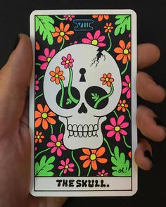"""The Skull."" ...Card VIII for my new Secret Arcana... More news and updates soon! 💛💚💙💜💖 @vonzos #secretarcana"