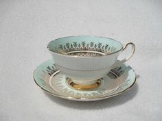 Beautiful Royal Grafton Robin's Egg Blue and Gold Teacup and Saucer