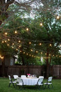 Throw a backyard dinner party decked out with fun string lights. Plenty of options available online at www.partylights.com!