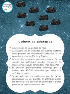 Asteroids, poster for kids, solar system, Spanish, SISTEMA SOLAR -Orientacion Andujar Space Projects, Science Projects, School Projects, Solar System Model, Our Solar System, Comets And Asteroids, Solar System Activities, Asteroid Belt, Go Math