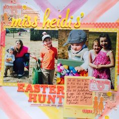 Miss Heidi's Easter Hunt - Scrapbook.com - 4 vertical photos help tell the story of an Easter egg hunt.