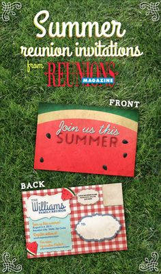 watermelon or grass invite Family Reunion Invitations, Family Reunion Games, Family Reunions, Save The Date Postcards, Save The Date Cards, Youth Group Activities, Youth Groups, Summer Camp Games, Party Planning