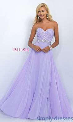 Dresses, Formal, Prom Dresses, Evening Wear: Elegant Classic Strapless Chiffon Prom Dress by Blush