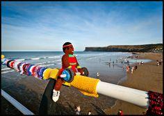 Olympics 2012 yarn bombing. Saltburn Pier, Cleveland, UK March 2012.