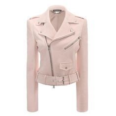 Shop Women's Cropped Leather Biker Jacket from the official online store of iconic fashion designer Alexander McQueen. Alexander Mcqueen, Cropped Leather Jacket, Leather Jackets, Biker Jackets, Moto Jacket, Outerwear Jackets, Cuir Rose, Pink Jacket, Mantel