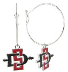 Red and Black San Diego State SD Hoop Earrings