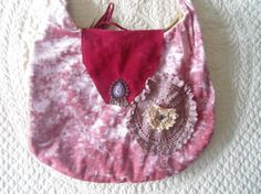 Pink velvet red suede and lace purse with purple by LandofBridget, $25.00