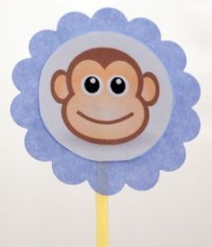 Free set of DIY print and make your own set of monkey cupcake toppers for your next party. Jungle Cupcakes, Monkey Cupcakes, Monkey Birthday Parties, Baby 1st Birthday, Birthday Ideas, Curious George Party, Jungle Party, Party Entertainment, Baby Shower Favors