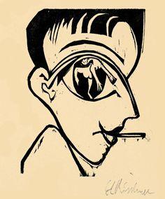 Ernst Ludwig Kirchner: Profile Head (Self-Portrait), woodcut1930