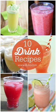 Check out this roundup of 10 drink recipes! Perfectly refreshing for the summertime!! { lilluna.com }