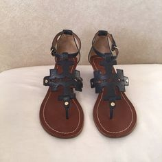 Tory burch authentic Tory burch chandler logo wedge leather  sandal navy blue 10 Tory Burch Shoes Sandals