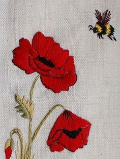 poppy and the bee embroidery