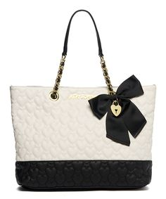 Another great find on #zulily! Bone & Black Be Mine Tote by Betsey Johnson #zulilyfinds