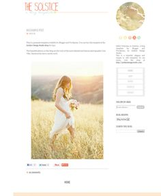 layout, design, colors    Solstice Blog Template for Blogger and Wordpress. $39,99, via Etsy.