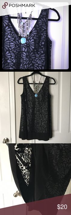 Layered Faux Leather Tank Beautiful layered longer tank. A little too long for my torso. Never worn. Tracy Reese Tops