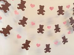 Perfect for a Teddy Bear Picnic birthday party !! I make this 10 foot paper garland with 3 inch tall brown card stock teddy bears and between