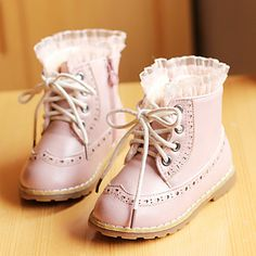 Girls' Faux Leather Flat Heel Ankle Combat Boots With Zipper(More Colors) – USD $ 19.99