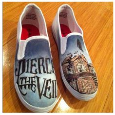 346c1fd81f Collide With The Sky- Pierce the Veil Shoes by ~Imsarahx on deviantART ·  Love BandCool BandsHand Painted ShoesPainted VansTypes Of ShoesShoe ...