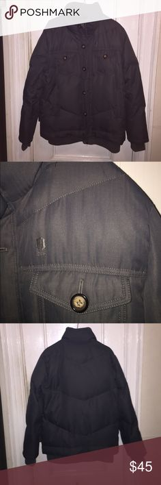 """Brooklyn Indust Grey Down Puffer Jacket Sz S For your consideration a men's Brooklyn Industries grey down puffer. Jacket has stylish design nice details, elastic accents @ waist/cuff/neck, zipper/button front, L/R chest, L/R hip pocket & full nylon lining. (Shoulder to shoulder 18"""", armpit to cuff 21"""" armpit to armpit 22"""" and shoulder to waist 26"""". (Hood is missing) Feel free to message with questions and thanks for stopping by. Brooklyn Industries Jackets & Coats Puffers"""