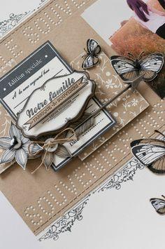 Papillons réalisés en plusieurs impressions de tampons dans du Bazzill blanc et Kraft. Découpez des papillons en entier puis uniquement des ailes dans une autre couleur pour leur donner du relief.