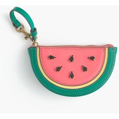 J.Crew Watermelon Coin Purse (€36) ❤ liked on Polyvore featuring bags, wallets, coin pouch, coin pouch wallet, leather coin purse, white leather bag and genuine leather wallet