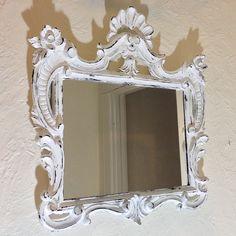 Shabby Chic ornate mirror large 23x22 white by MySugarBlossom, $63.00