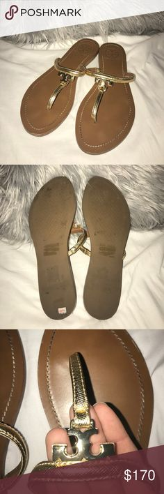 Tory Burch flip flops Lightly used, so cute to dress up any outfit I jus have no need for them anymore. There is slight discoloration were the big toe is from dirt. I will try to find a dust bag to put these in but no guaranteed Tory Burch Shoes Sandals