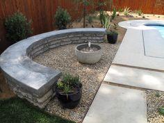 Urbanite Raised Seat Wall, Gravel Patio and concrete path. Recycled Concrete, Broken Concrete, Concrete Path, Concrete Retaining Walls, Garden Retaining Wall, Landscaping Retaining Walls, Gravel Patio, Concrete Design, Modern Landscaping