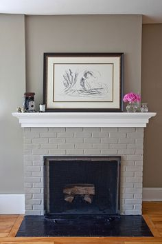 Newest Photo Brick Fireplace mantle Suggestions Sometimes it makes sense in order to neglect the actual renovate! In lieu of pulling out a out-of-date brick fireplace , Fireplace Mantle Designs, Brick Fireplace Mantles, Painted Brick Fireplaces, Grey Fireplace, Fireplace Update, Paint Fireplace, Brick Fireplace Makeover, Fireplace Remodel, Airstone Fireplace