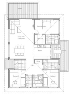 Eliminate the 1/2 bath and maybe may be a half wall between living room and dining or switch dining and kitchen (have island/bar facing living room)