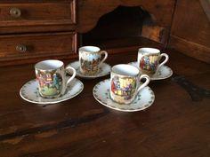 Vintage tazzine / Antiche tazzine decorate / Vintage vetrinetta di VintaFai su…