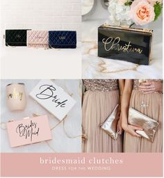 Bridesmaid Clutches + Bags | Dress for the Wedding Bridesmaid Dresses Different Colors, Spring Bridesmaid Dresses, Bridesmaid Gift Bags, Rose Gold Bridesmaid, Bridesmaid Clutches, Mismatched Bridesmaid Dresses, Bridesmaids, Wedding Clutch, Wedding Gifts