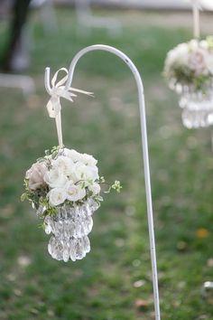 Blush Botanicals www.blushbotanicals.com blush wedding, aisle decor, aisle chandelier, shepherds hooks