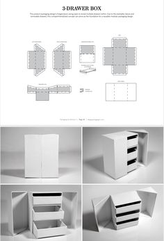 This product packaging design's hinged doors swing open to reveal multiple drawers within. Due to the stackable nature and removable drawers, this compartmentalized concept can serve as the foundation for a reusable modular packaging design. Packaging Dielines, Packaging Design, Product Packaging, Retail Packaging, Packaging Ideas, Diy Storage Boxes, Desk Organization Diy, Diy Cardboard Furniture, Cardboard Crafts