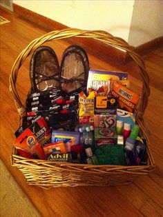 gift basket for a truck driver or boyfriend all the essentials. hand/foot warmers travel size toiletries beef jerky nuts word search duct tape first aid kit and whatever else they like! Diy Gifts For Boyfriend, Birthday Gifts For Boyfriend, Gift Baskets For Boyfriend, Country Boyfriend Gifts, Fathers Day Gift Basket, Gift Baskets For Him, Gifts For Him, Gifts For Truckers, Gifts For Truck Drivers