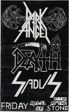 Gig flyer for Dark Angel, Death and Sadus.