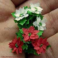 Small red and white poinsettia - Dollhouse miniature flowers