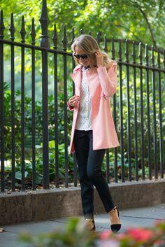 Coral Coat -- Coat: c/o Goodnight Macaroon     Shirt: c/o Ann Taylor     Pants: Theory     Shoes: c/o Goodnight Macaroon     Sunglasses: Stella McCartney
